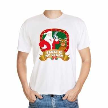Foute kerstmis shirt wit santa is no vegan voor mannen
