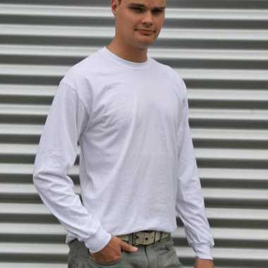 Gildan t-shirt lange mouwen wit